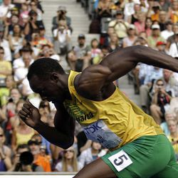 Jamaica's Usain Bolt starts a Men's 200m first round heat during the World Athletics Championships in Berlin on Tuesday.