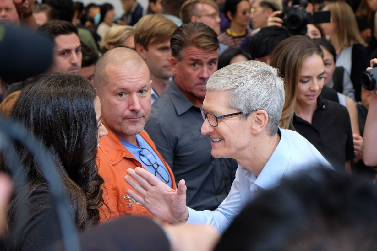 Apple chief design officer Jony Jonathan Ive and CEO Tim Cook, Steve Jobs Theater at Apple Park, iPhone X event, Sept. 12, 2017