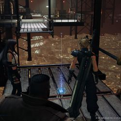 After the bridge falls, make your way around to the lower level to pick up the blue Materia