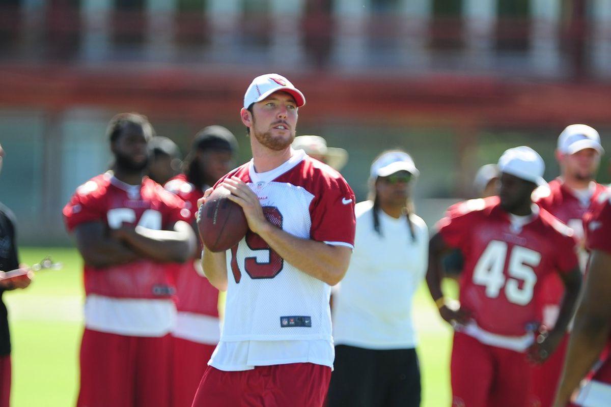 Jun. 12, 2012; Tempe, AZ, USA; Arizona Cardinals quarterback John Skelton during minicamp at the Cardinals practice facility.  Mandatory Credit: Mark J. Rebilas-US PRESSWIRE
