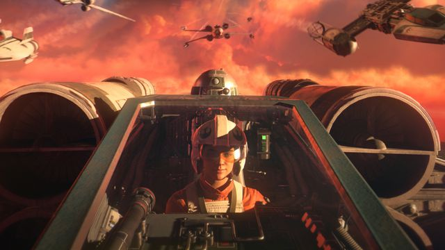 A close-up of a New Republic pilot and her astromech droid inside an X-Wing. Four other ships of different makes and models pull up behind her.