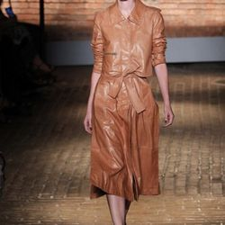 A model walks the runway at the Yigal Azrouel Spring 2012 fashion show during Mercedes-Benz Fashion Week at Highline Stages on September 9, 2011 in New York City.