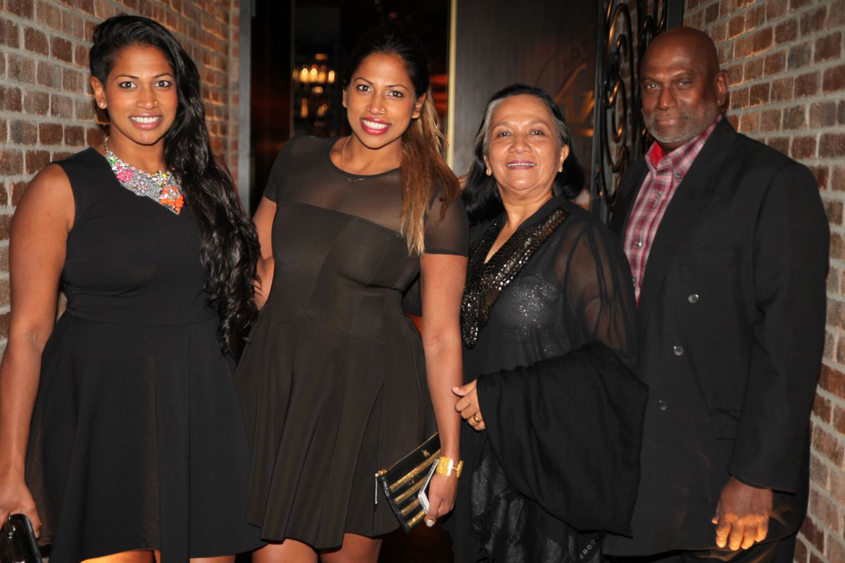 Nadiya and Natalie Anderson with their parents at Andiamo inside the D Las Vegas.