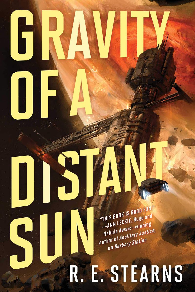 a space station floats on the cover of Gravity of a Distant Sun by R.E. Stearns