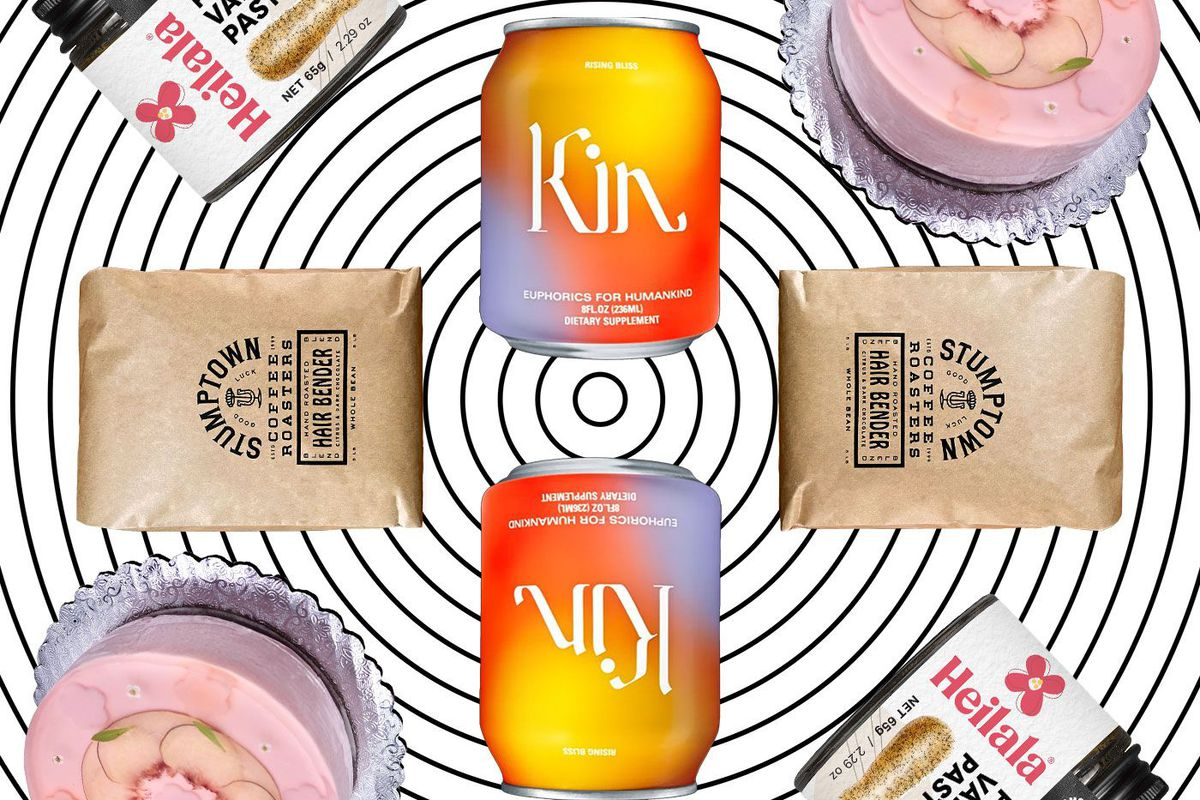 A collage of Kin aperitif, vanilla paste, a pink cake, and bags of Stumptown coffee