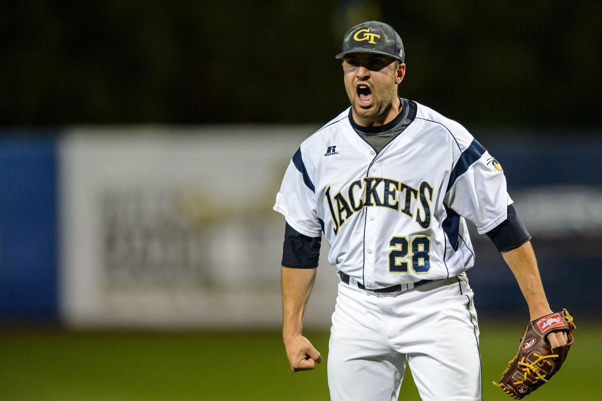 Dusty Isaacs celebrates after striking out the side in the eighth.