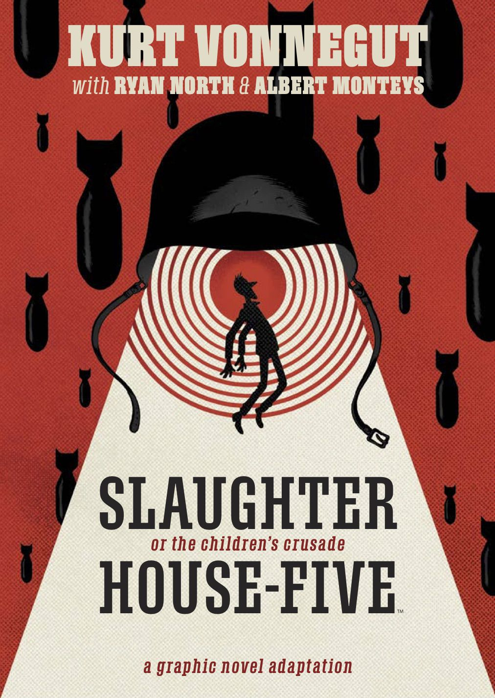 Billy Pilgrim floats upward as if in a tractor beam into a giant military helmet, as bombs rain down around him on the cover of Slaughterhouse-Five (2020).
