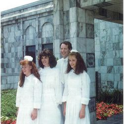 Dull family sealing in Dallas temple when Erin and Rachel were in early teens.