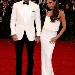 David Beckham in Ralph Lauren and Victoria Beckham in Victoria Beckham