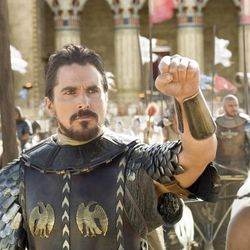 """Christian Bale as Moses leads the Egyptians into battle in """"Exodus: Gods and Kings."""""""