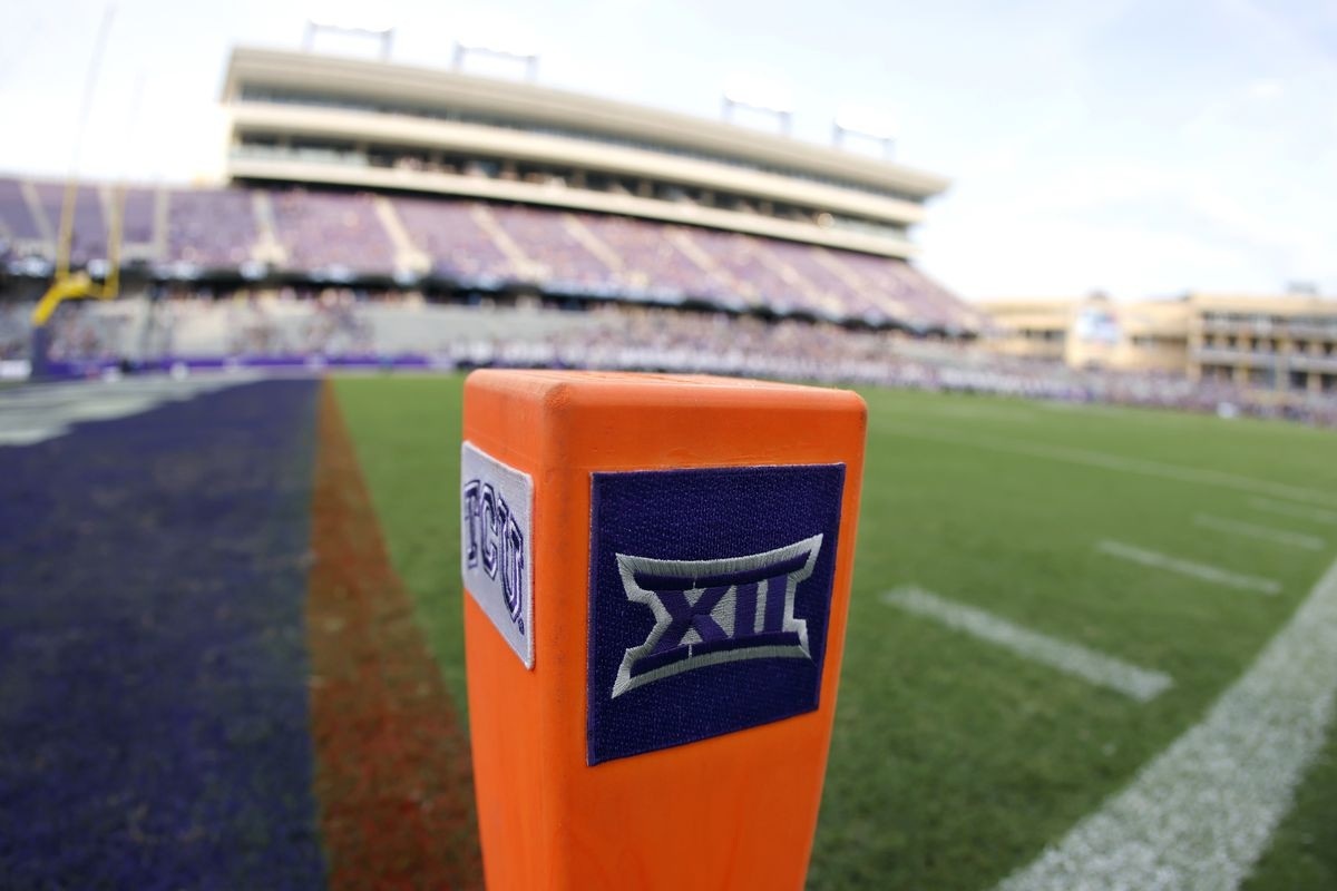 A Big 12 Conference logo is displayed on a goal line pylon before Duquesne played TCU in Fort Worth, Texas.