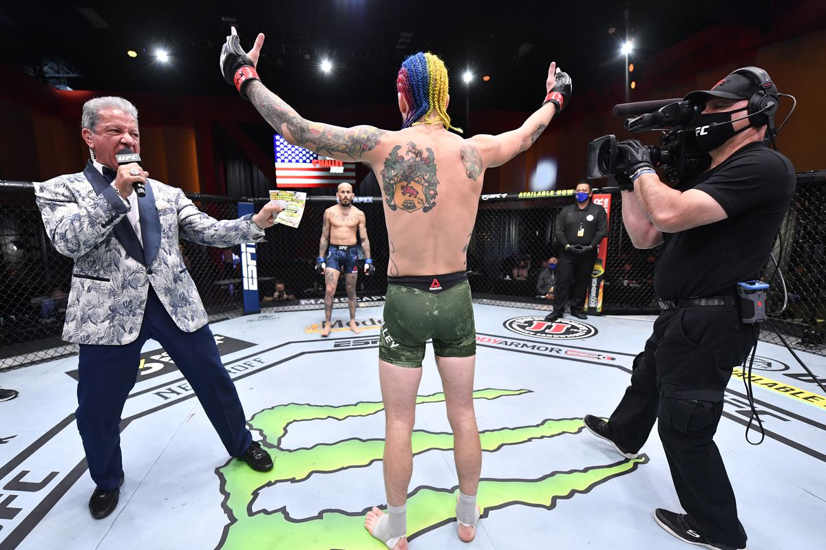 Sean O'Malley poses ahead of his bout against Marlon Vera at UFC 252.