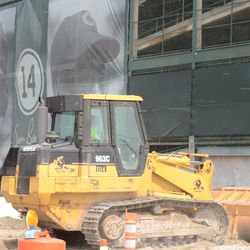12:53 p.m. Working along the west side of the ballpark -