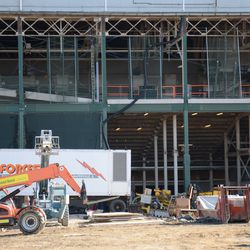 10:37 a.m. View of the west side of the ballpark, where the plaza entrance will be located -