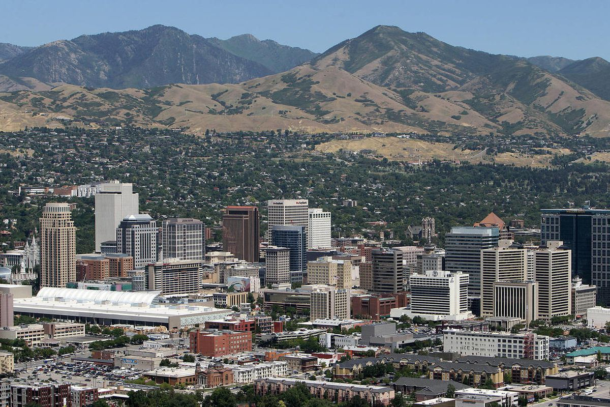Aerial view of Salt Lake City, Friday, Aug. 5, 2011. The City Council is currently voting on allowing neighborhood bars to move to Salt Lake City.