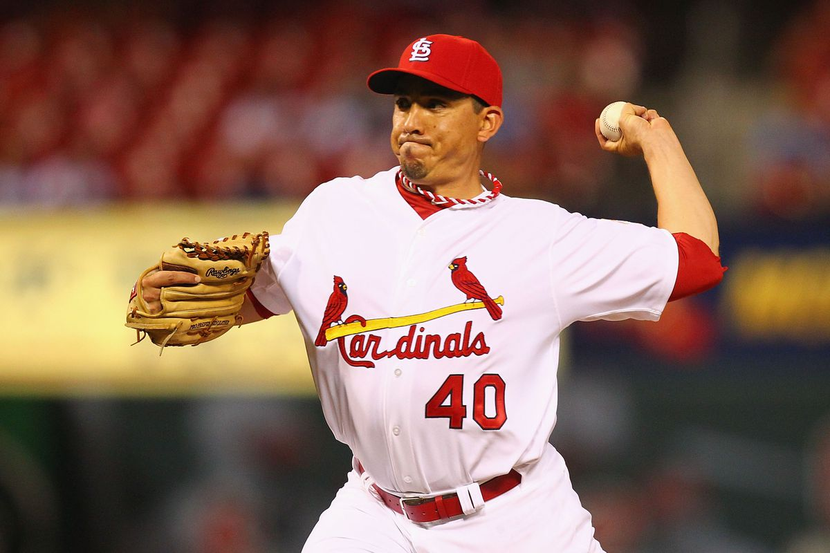 ST. LOUIS, MO - AUGUST 6: Reliever Brian Fuentes #40 of the St. Louis Cardinals pitches against the San Francisco Giants at Busch Stadium on August 6, 2012 in St. Louis, Missouri.  (Photo by Dilip Vishwanat/Getty Images)
