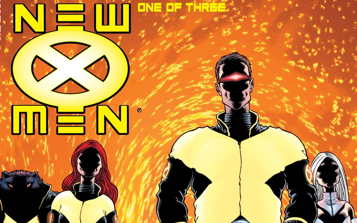 Ltr: Beast, Jean Grey, Cyclops, and Emma Frost on the cover of New X-Men #114, Marvel Comics (2001).