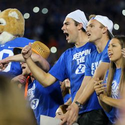 BYU fans cheer as BYU and Mississippi State play in Provo at LaVell Edwards Stadium on Friday, Oct. 14, 2016.