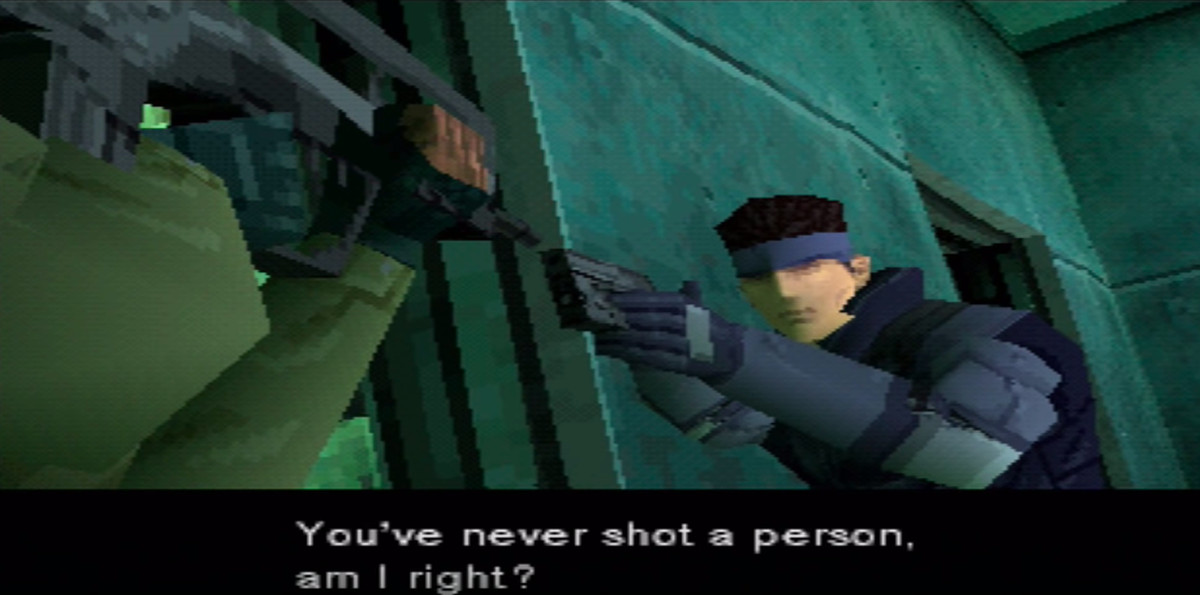 Solid Snake and Meryl aiming guns at each other, with Snake asking, 'You've never shot a person, am I right?'
