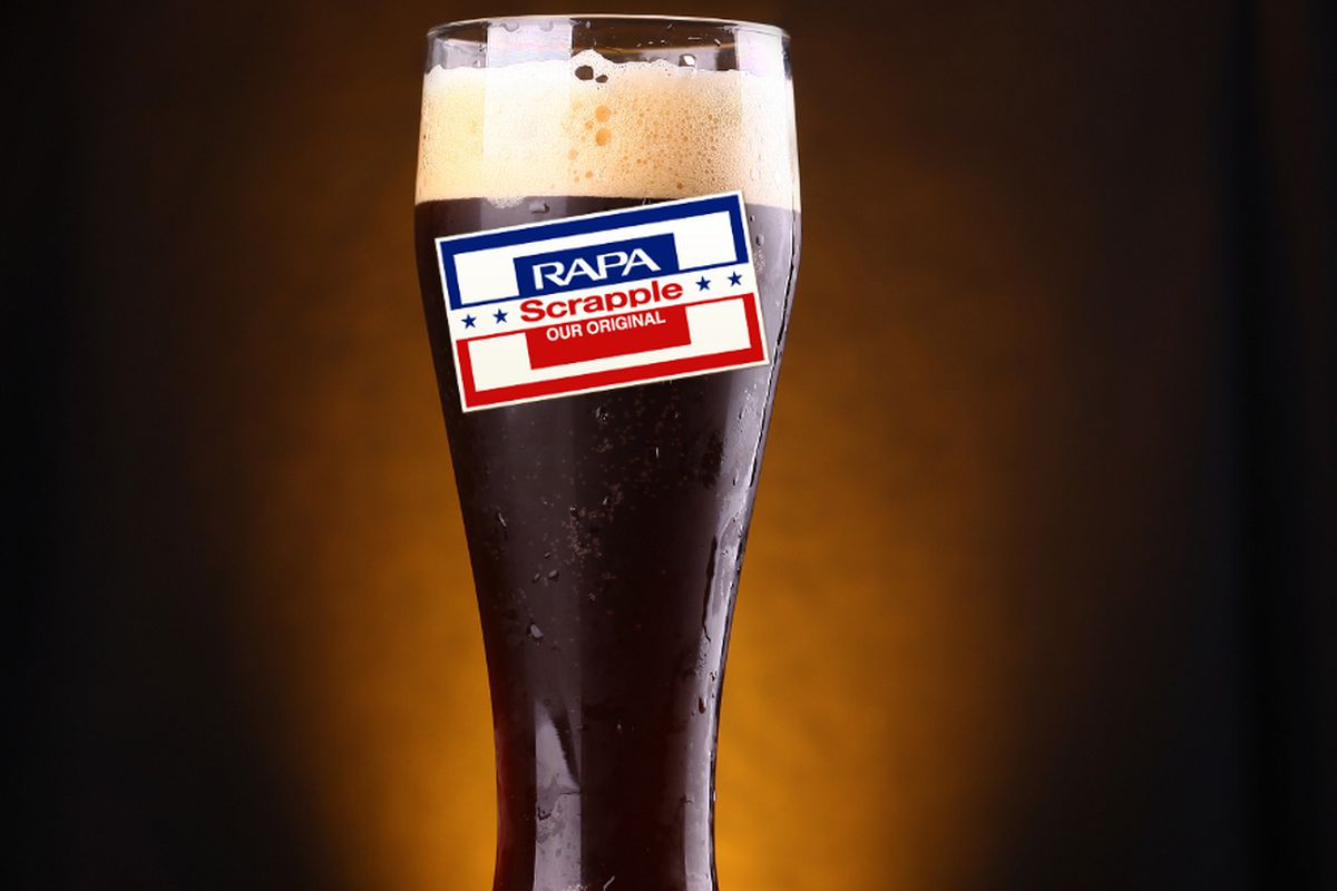 Artist's rendering of a frosty pint of scrapple stout.