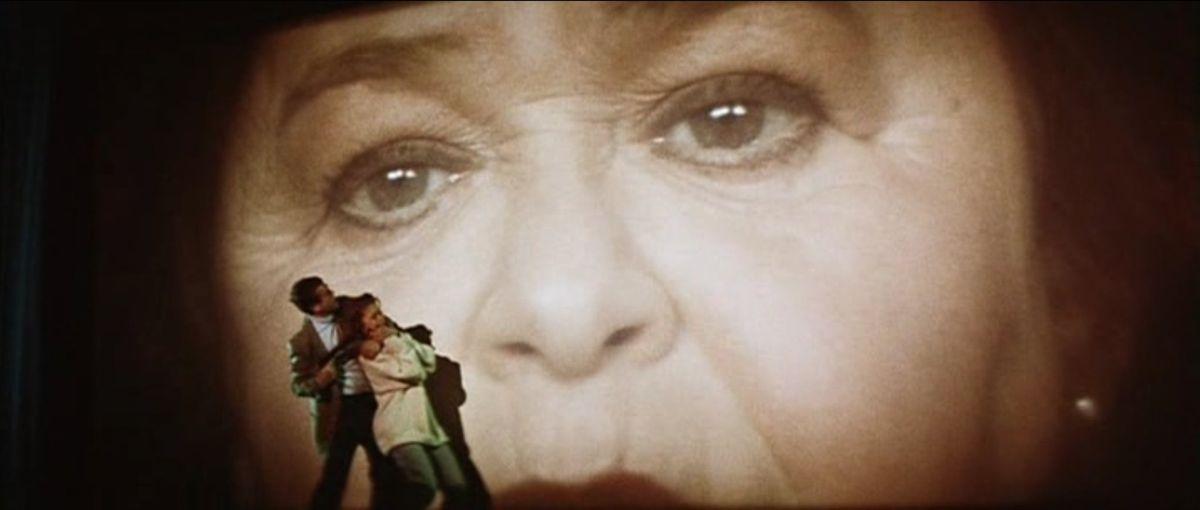 Zelda Rubinstein on a giant movie screen in Anguish