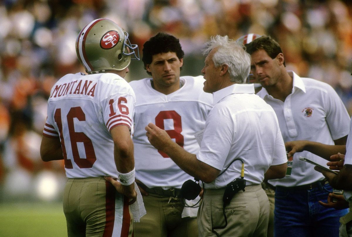 Joe Montana, Steve Young, and Bill Walsh (GettyImages)