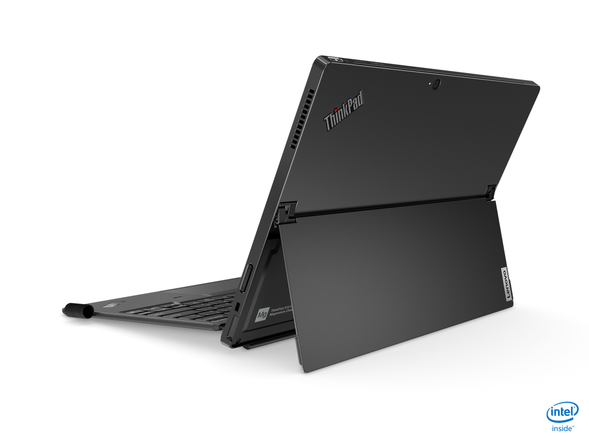 The ThinkPad X12 Detatchable in laptop mode, seen from the back with the kickstand unfolded.