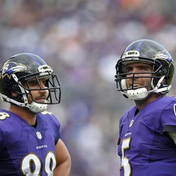 Baltimore Ravens tight end Dennis Pitta, left, and quarterback Joe Flacco stand on the field in the second half of an NFL football game against the Oakland Raiders, Sunday, Oct. 2, 2016, in Baltimore. (AP Photo/Nick Wass)