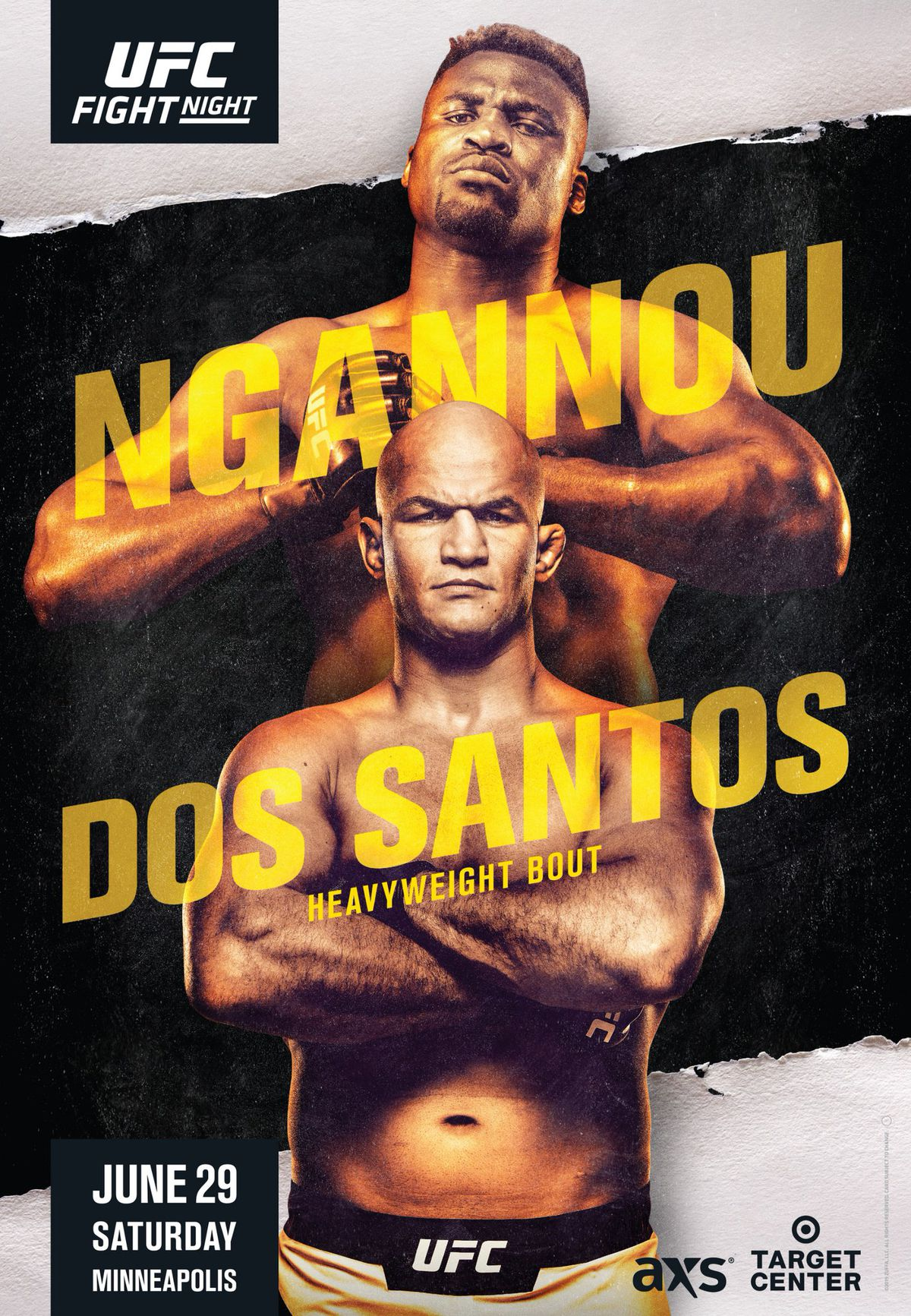 UFC Minneapolis poster: Francis Ngannou wearing his Adidas, standing on 2 Fifth
