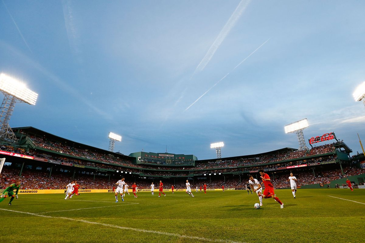 BOSTON, MA - JULY 25:  Liverpool's offense makes a run towards goal against AS Roma during a pre-season tour friendly match on July 25, 2012 at Fenway Park in Boston, Massachusetts.  (Photo by Jared Wickerham/Getty Images)