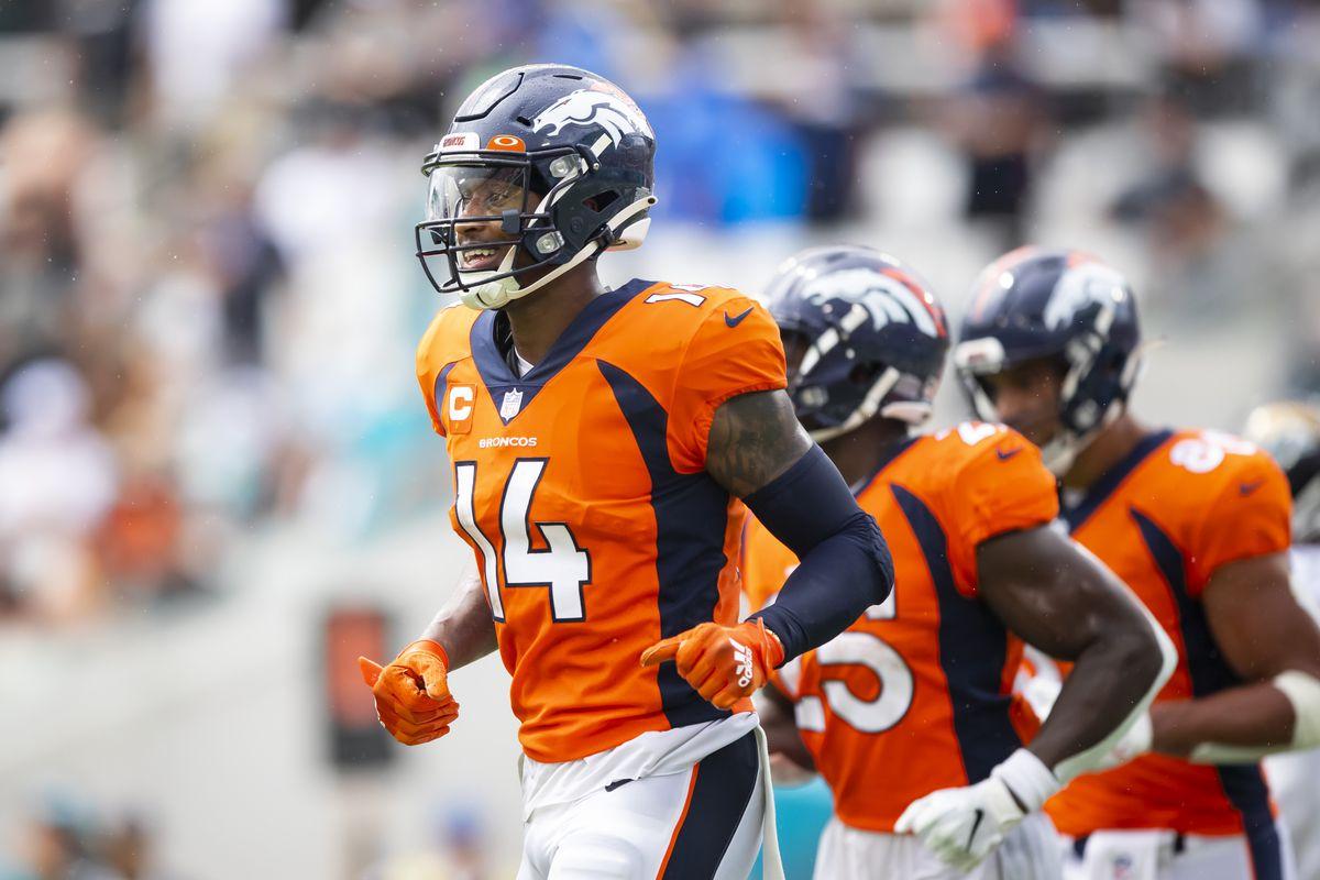 Denver Broncos wide receiver Courtland Sutton (14) against the Jacksonville Jaguars at TIAA Bank Field.
