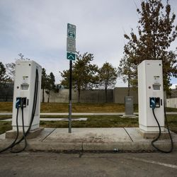 Electric car charging stations are pictured in Salt Lake City on Wednesday, Feb. 8, 2017. HB29, a legislative proposal to keep electric vehicle tax credits alive but phase them out entirely six years from now remains a work in progress, with negotiations continuing between its sponsor and other lawmakers.
