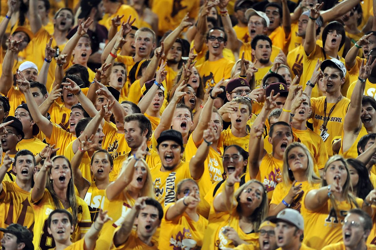 Arizona State Sun Devil Fans cheer their team on against the University of Southern California Trojans at Sun Devil Stadium on September 24, 2011 in Tempe, Arizona.  (Photo by Norm Hall/Getty Images)