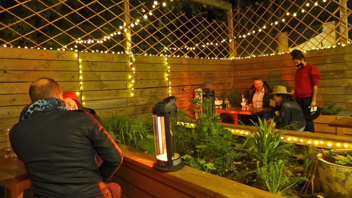A darkened and fenced backyard strung with lights and with two tables of diners.