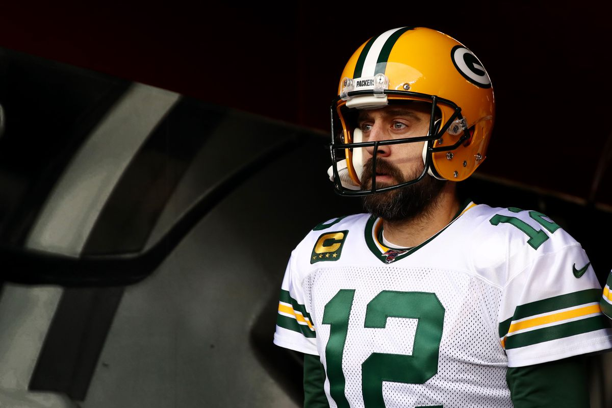 Packers quarterback Aaron Rodgers walks to the field for warmups before the NFC Championship Game against the 49ers on Jan. 19.