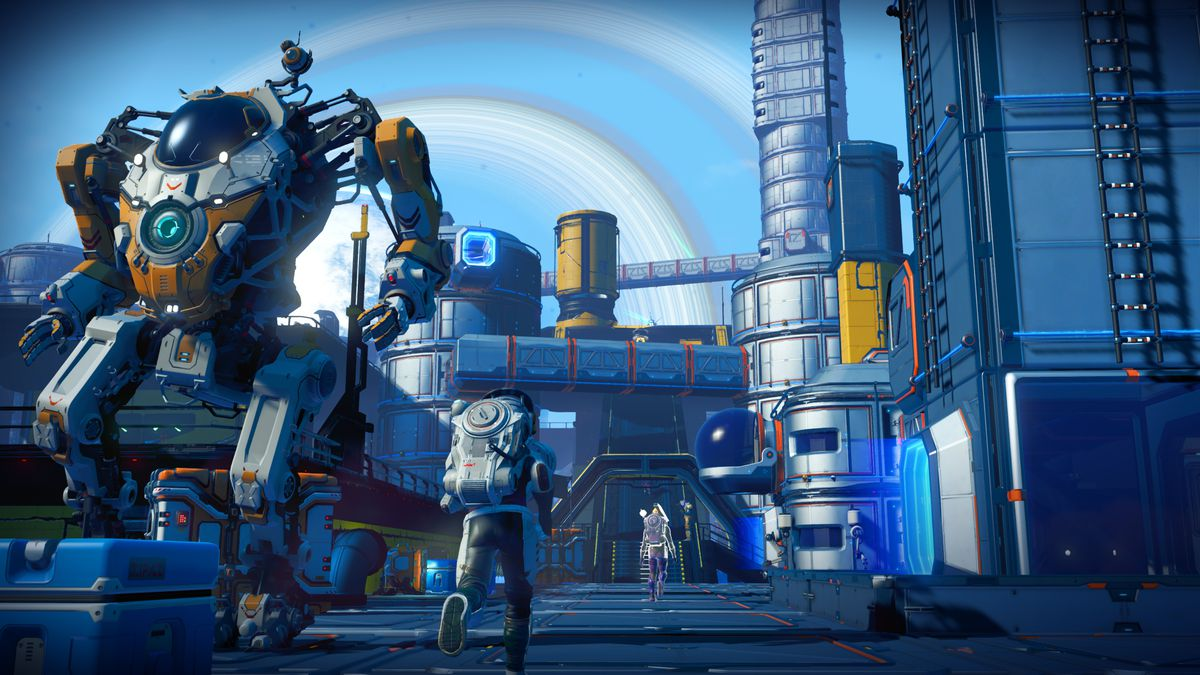 Multiple travelers traverse a large base installation in a screenshot from No Man's Sky