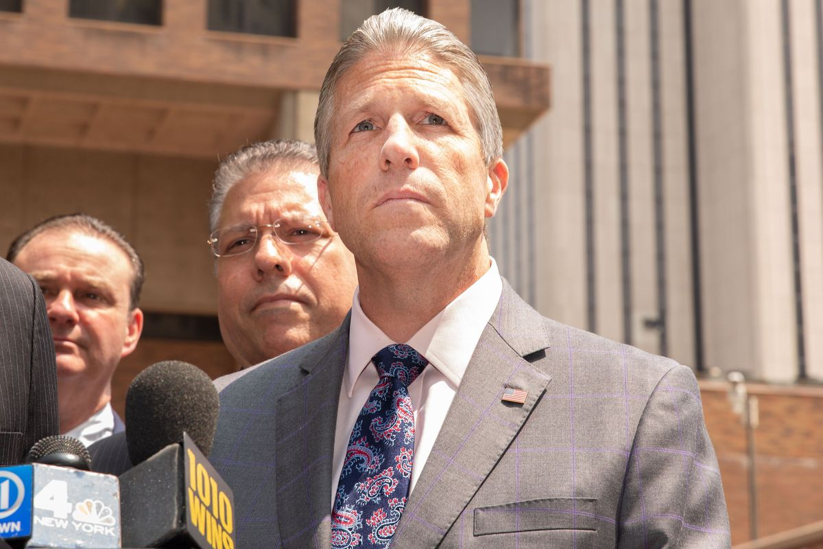 Patrolmen's Benevolent Association president Patrick Lynch attends a press conference during the internal NYPD trial for then-officer Daniel Pantaleo, June 5, 2019.
