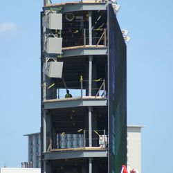 3:20 p.m. The west side of the video board structure -