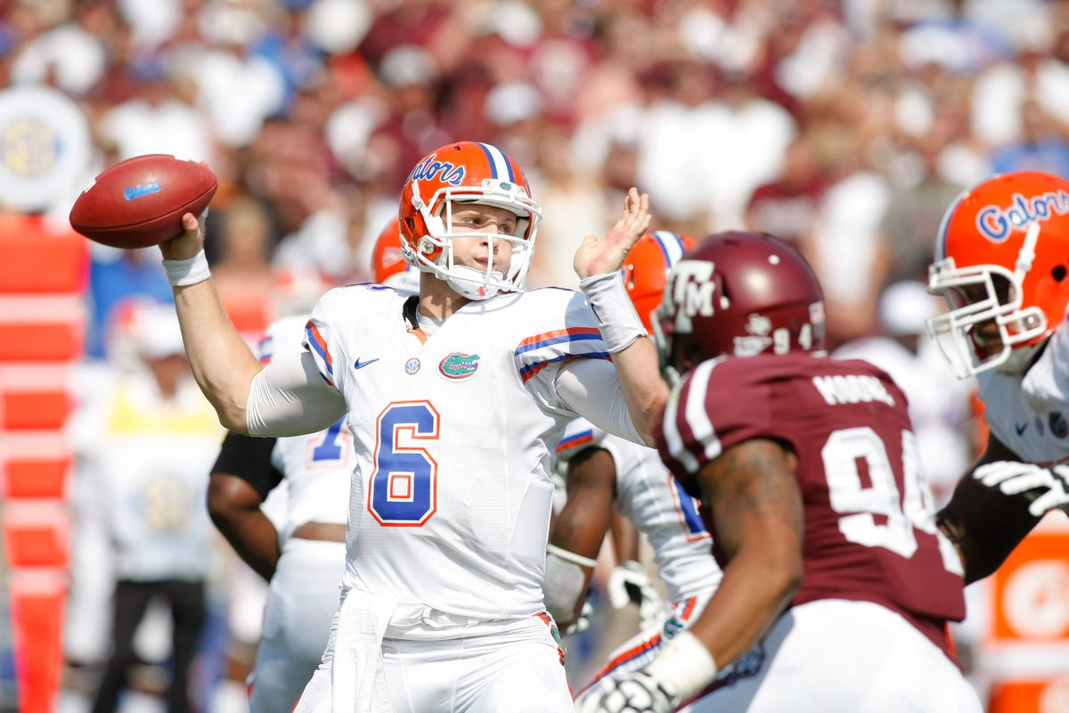 Sep 8, 2012; College Station, TX, USA; Florida Gators quarterback Jeff Driskel (6) throws a pass against the Texas A&M Aggies in the second quarter at Kyle Field. Mandatory Credit: Brett Davis-US PRESSWIRE