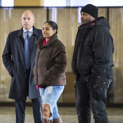 Attorney Michael Avenatti stands with Angelo and Alice Clary at the Leighton Criminal Courthouse on Saturday. | Ashlee Rezin/Sun-Times