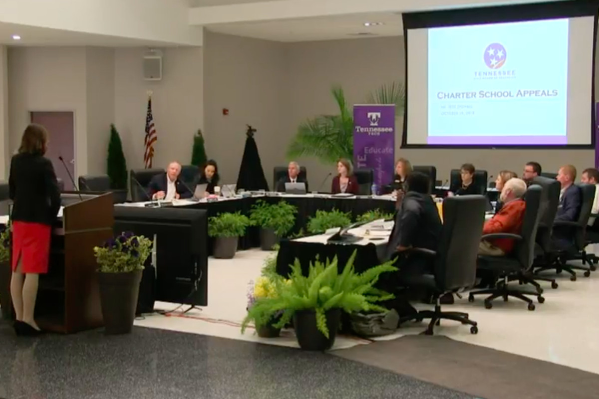 Members of Tennessee's State Board of Education listen to recommendations on charter school appeals during their two-day meeting in Cookeville.