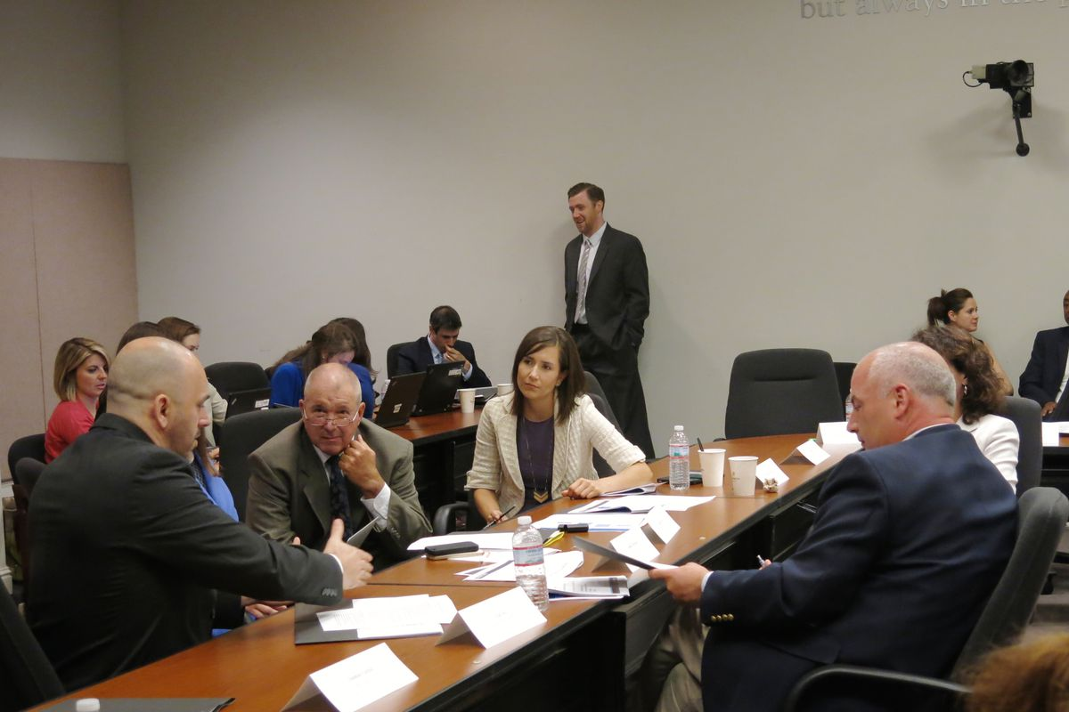 From left: Math teacher Phillip Eller, Rep. John Forgety, State Board of Education Director Sara Heyburn and Maryville City Schools Director Mike Winstead discuss state testing policies at a 2015 meeting of Tennessee's first testing task force.