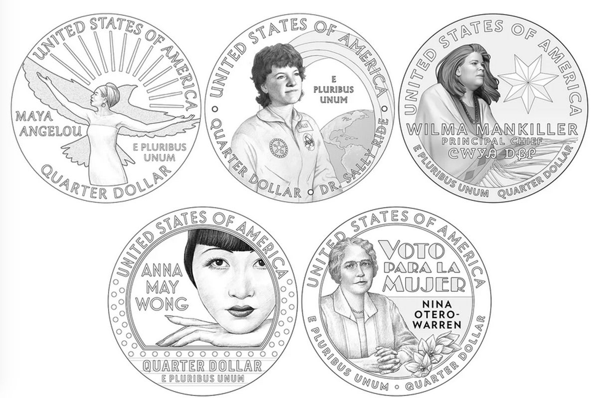 Maya Angelou, Sally Ride, Wilma Mankiller, Anna May Wong and Nina Otero-Warren as seen on the designs for the first batch of the new American Women Quarters, being released starting next year to honor trailblazing American women.