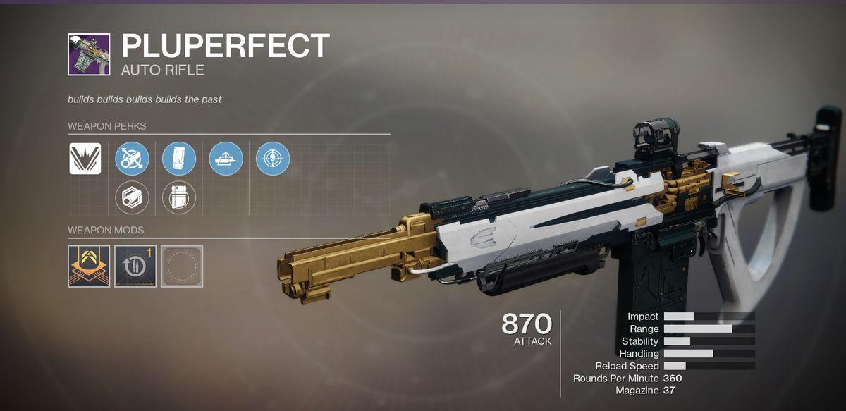 The Pluperfect Destiny 2 auto rifle