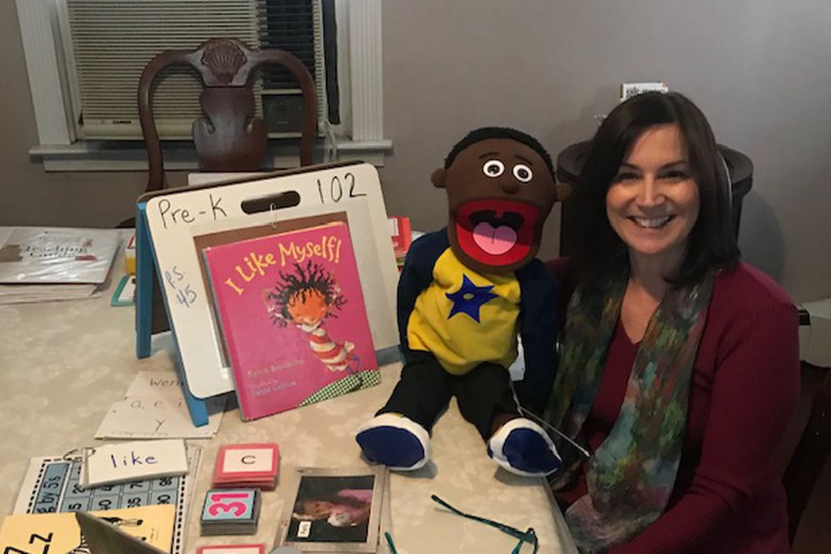 Pre-K teacher Donna Pizzi has been doing small group live instruction for her 4-year-olds.