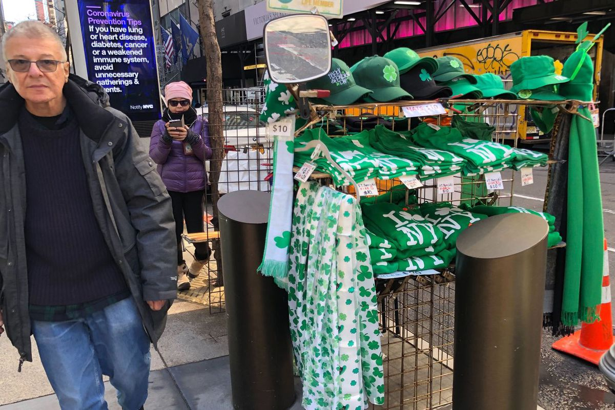 Street vendors say they'll box up their Irish-themed merchandize until the St. Pat's parade is rescheduled.