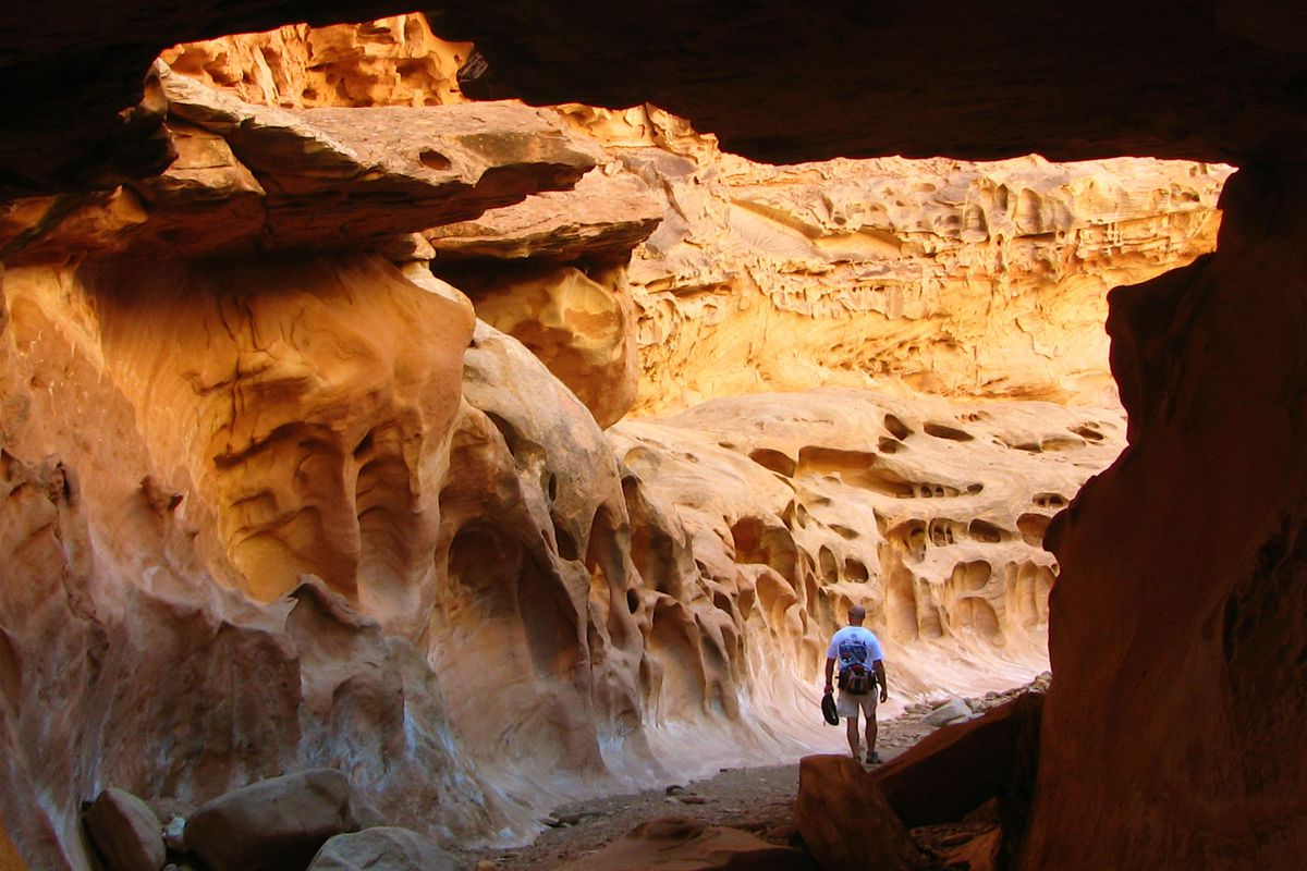 A hiker goes through the San Rafael Swell, in Emery County.