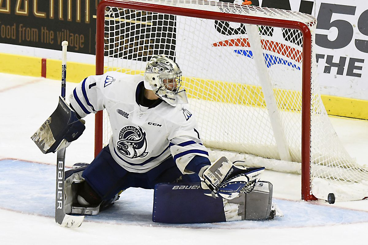 MISSISSAUGA, ON - DECEMBER 14: Jacob Ingham #1 of the Mississauga Steelheads stops a shot against the Sault Ste. Marie Greyhounds during OHL game action on December 14, 2018 at Paramount Fine Foods Centre in Mississauga, Ontario, Canada. Sault Ste. Marie defeated Mississauga 3-2 in overtime.