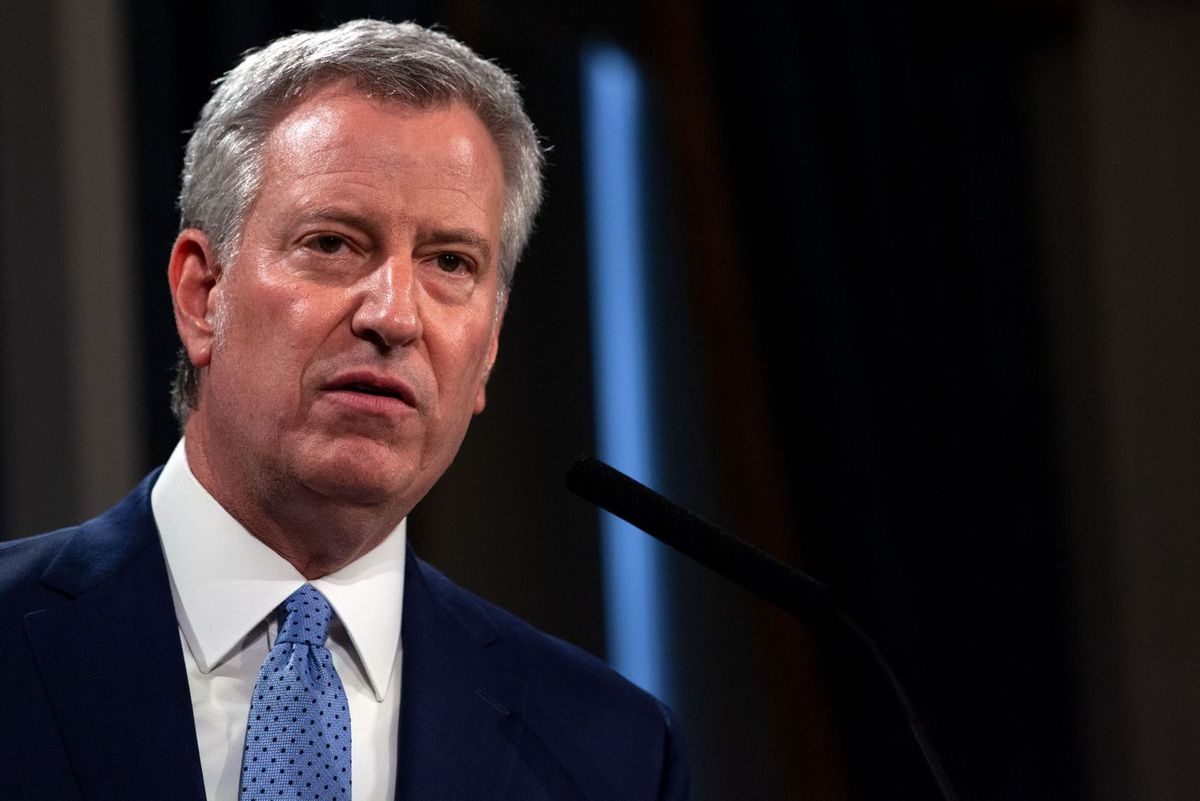Mayor Bill de Blasio gives an update at City Hall about the spread of the coronavirus.