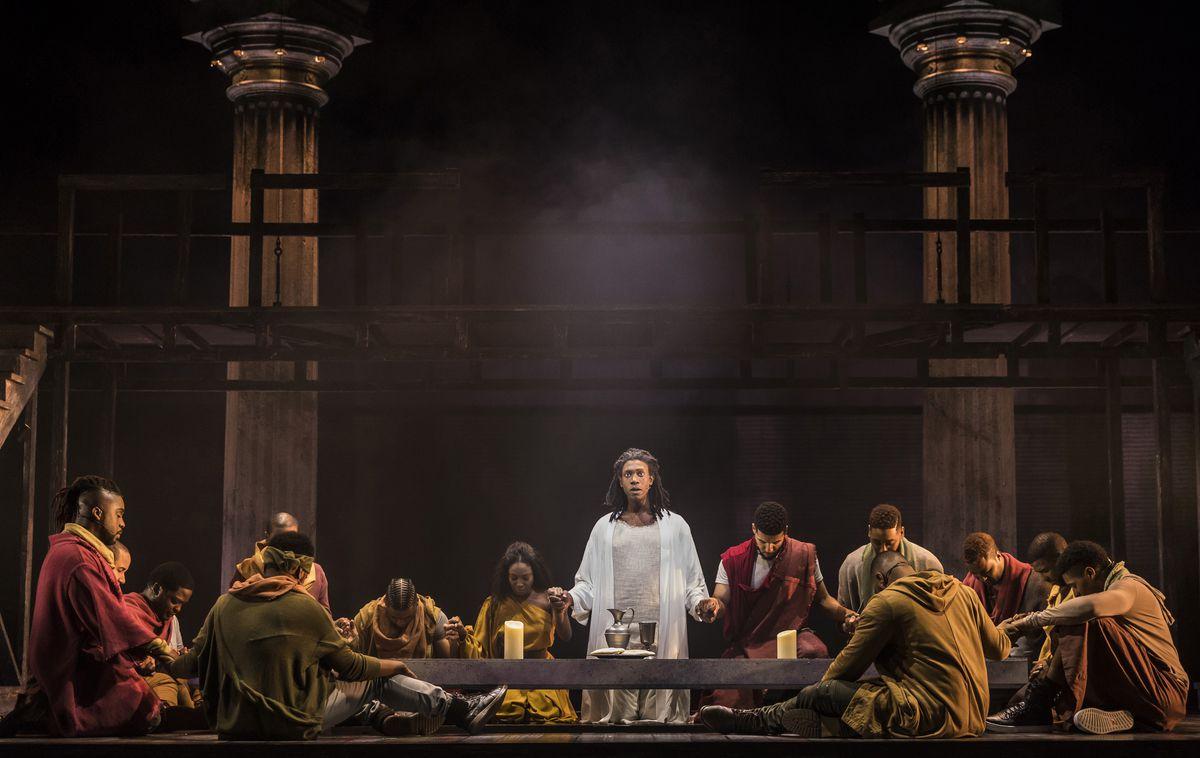 "Evan Tyrone Martin (center) plays Jesus of Nazareth in Paramount Theatre's 2017 production of ""Jesus Christ Superstar."" (Photo: Liz Lauren)"